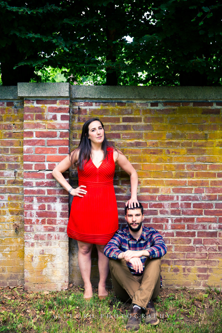 goofy outdoor engagement photo boston - photographed by Allegro Photography