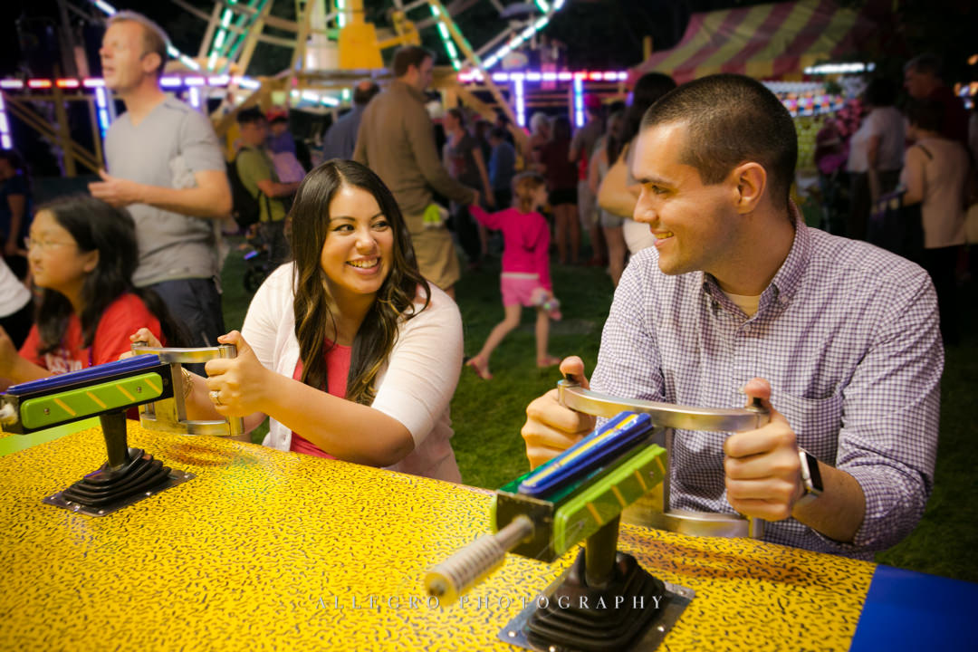carnival game engagement session - photographed by allegro photography