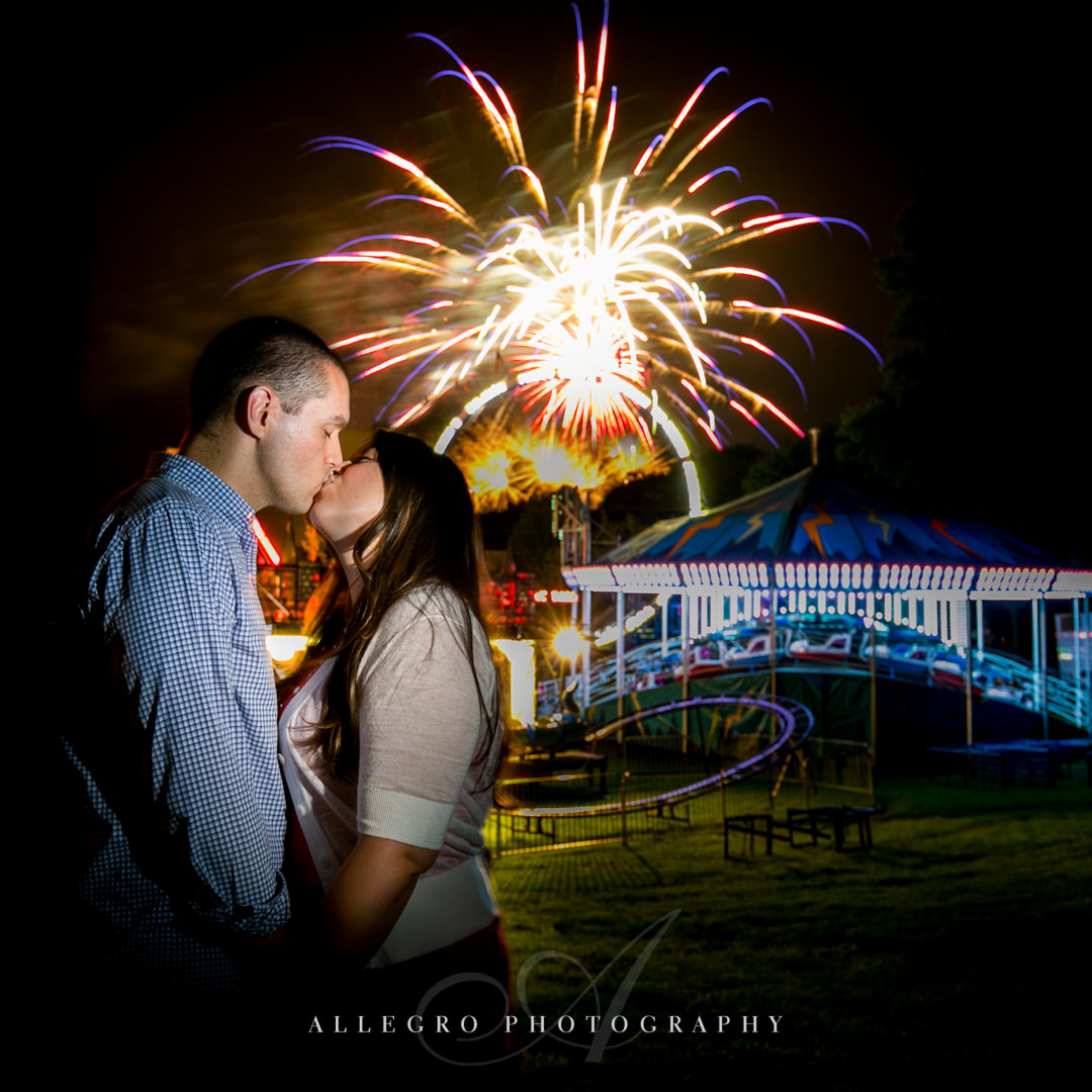 engagement photo fireworks - photographed by allegro photography