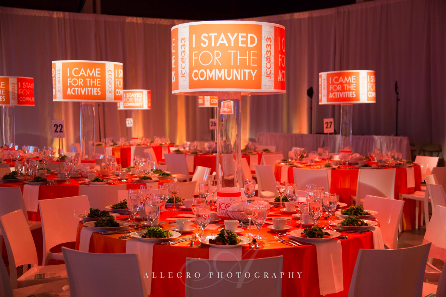 Nonprofit event center pieces for JCC@333 shot by Allegro Photography