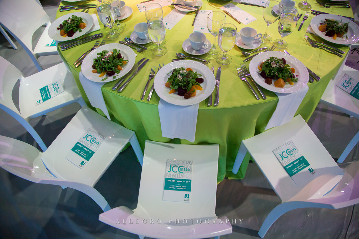 Nonprofit event tables photographed by Allegro Photography