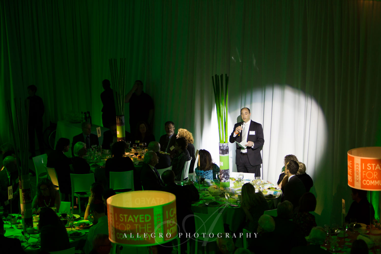 Speaker at nonprofit event for JCC@333 photographed by Allegro Photography