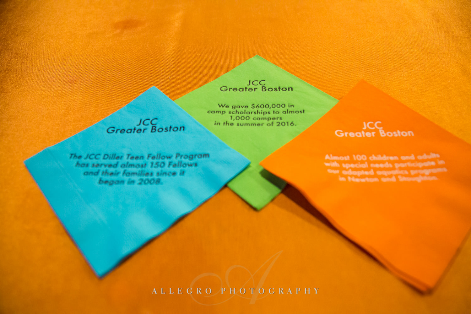Meaningful napkins at nonprofit event for JCC@333 shot by Allegro Photography