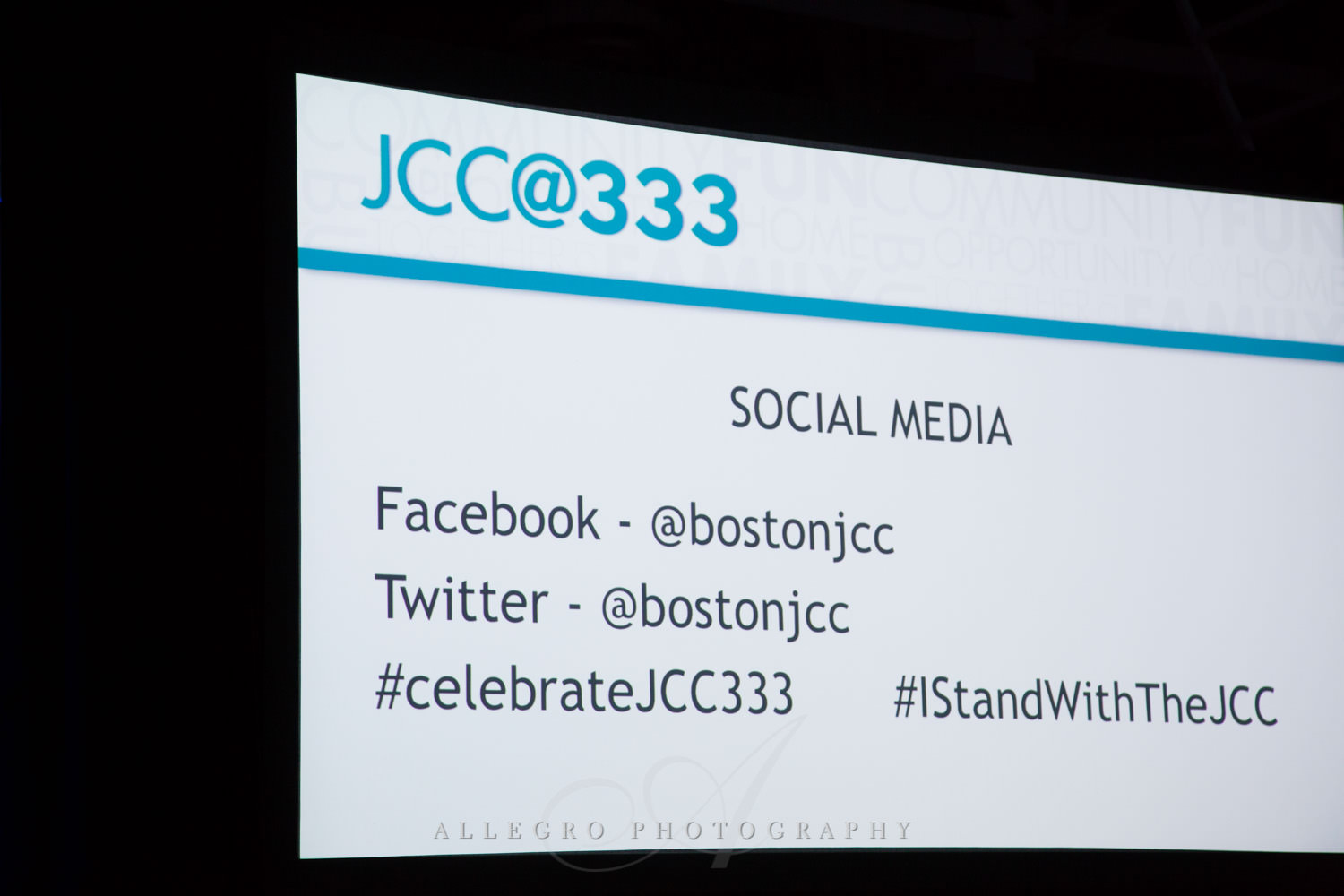 Nonprofit JCC@333 social media sites photographed by Allegro Photography