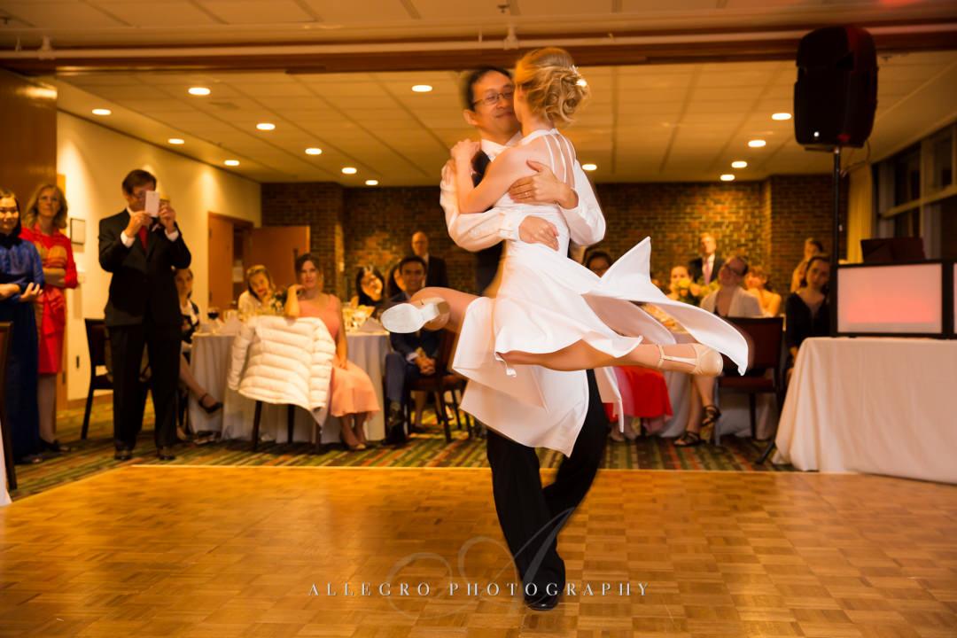 Bride and groom ballroom dancing