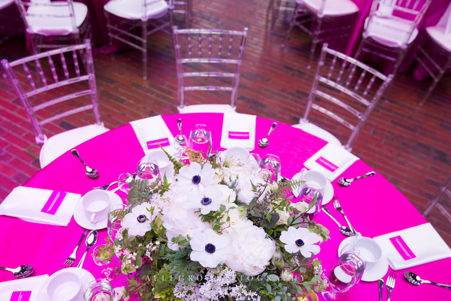 hot pink linens rosie's place gala boston non-profit event photography