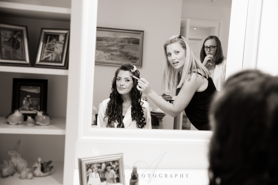 allegro photography: bride getting ready at home in needham ma