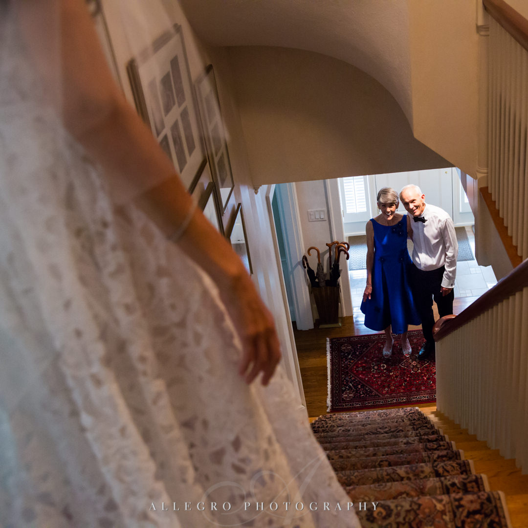 allegro photography: first look by mom and father of the bride at needham home