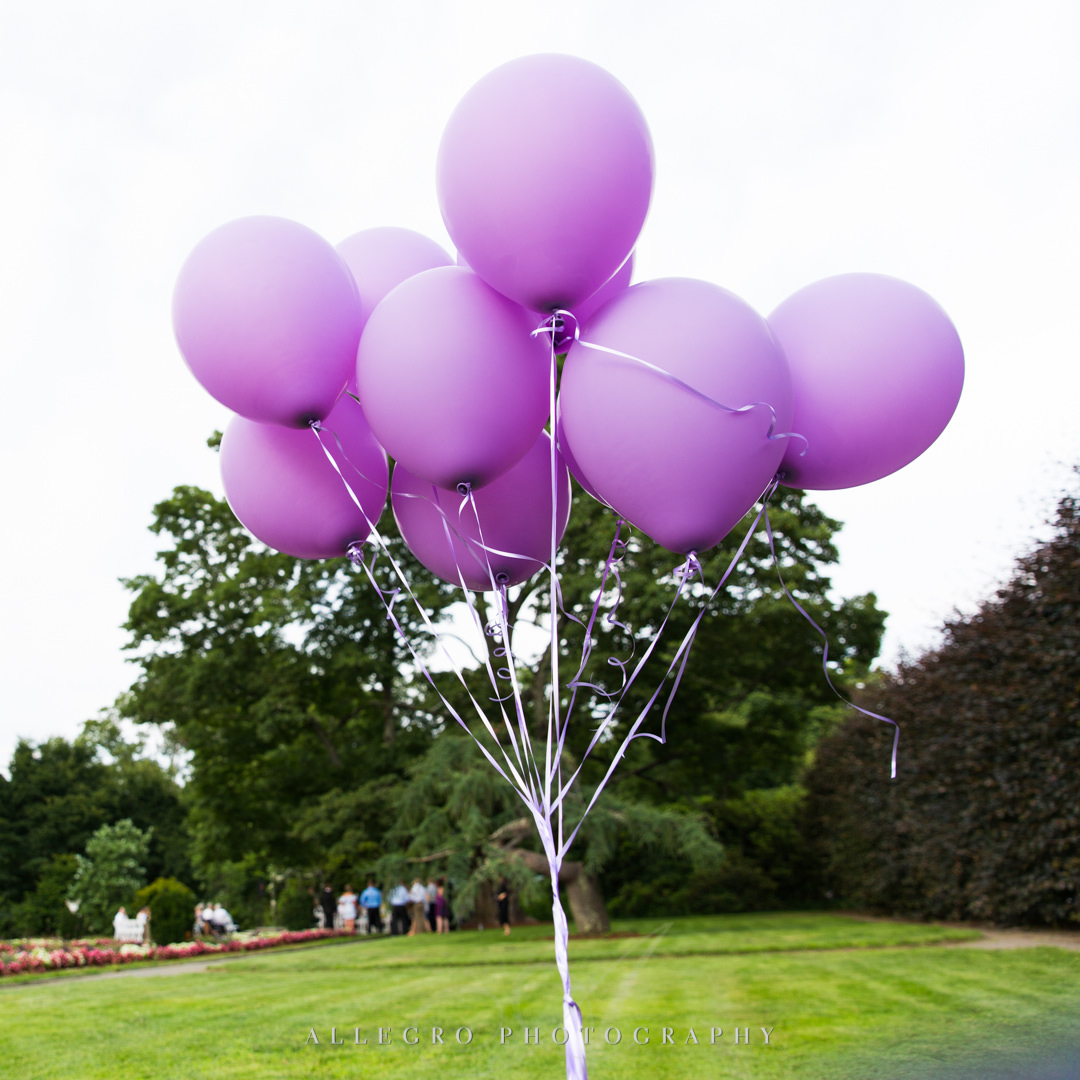 allegro photography: purple balloons in italianate garden at elm bank
