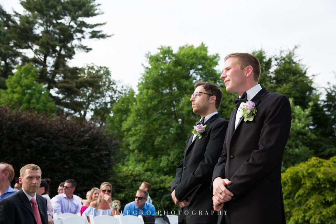 allegro photography: groom awaits bride at elm bank wedding