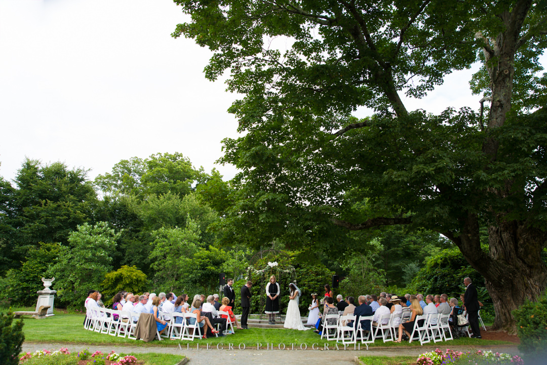 allegro photography: elm bank reservation ceremony by the gazebo arch under the tree