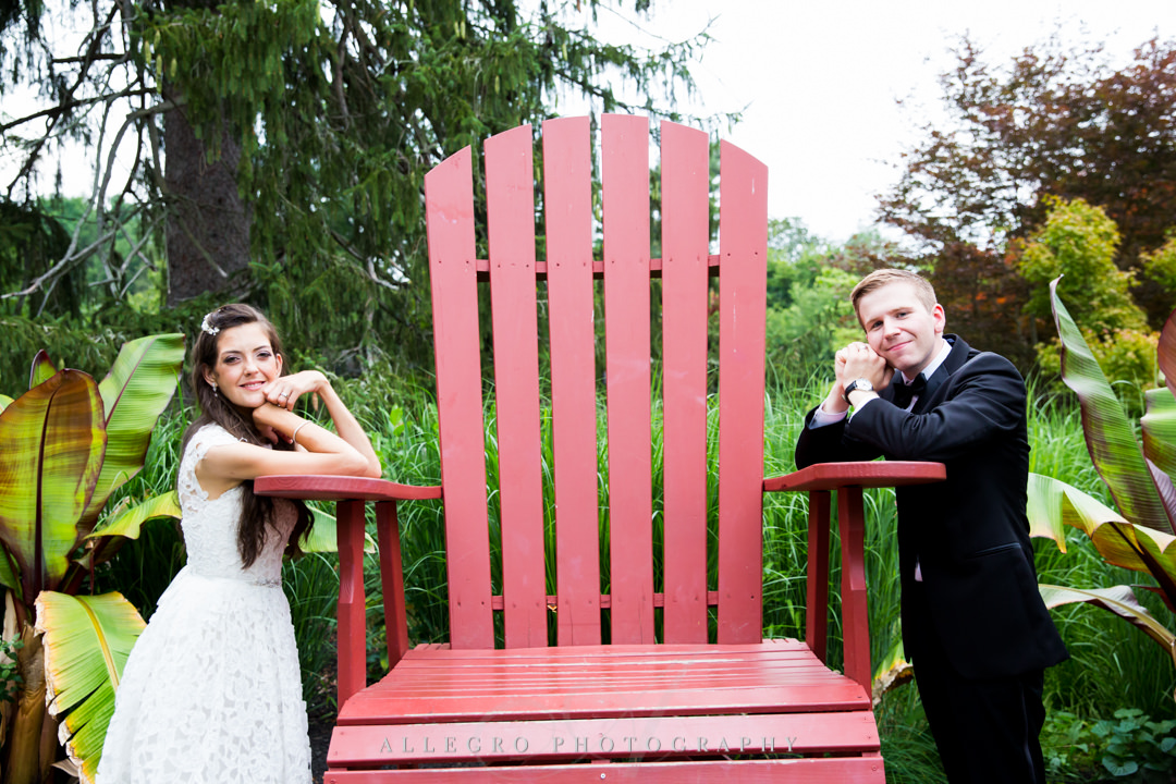 allegro photography: elm bank wedding portraits- big red chair