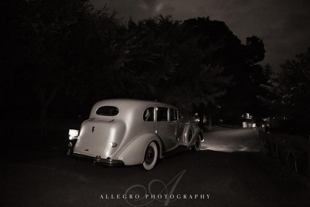 allegro photography: elm bank wedding wedding couple departure- night shot