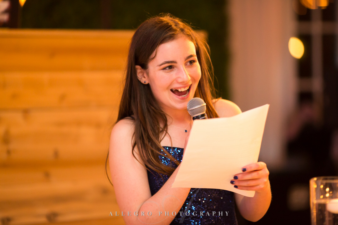 Allegro Photography bat mitzvah speech at party by janie haas events