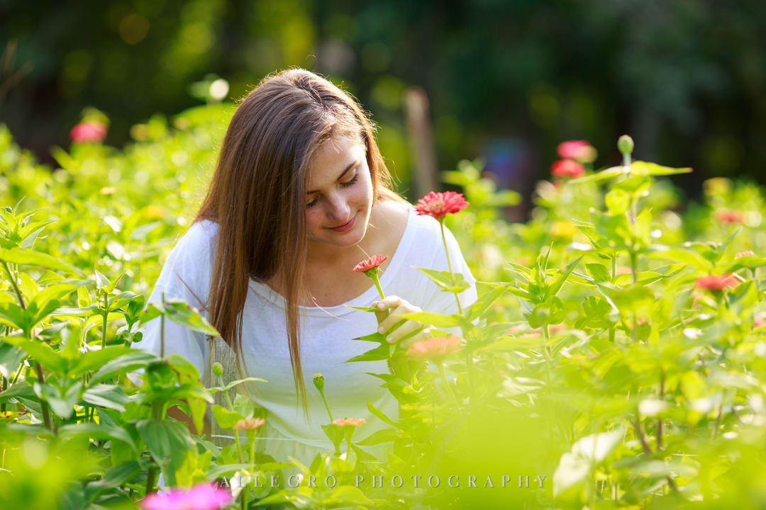 allegro photography senior photos- stop and smell the flowers
