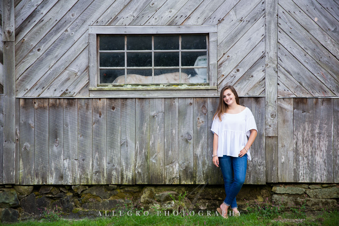 allegro photography senior pics- rustic portrait by the barn