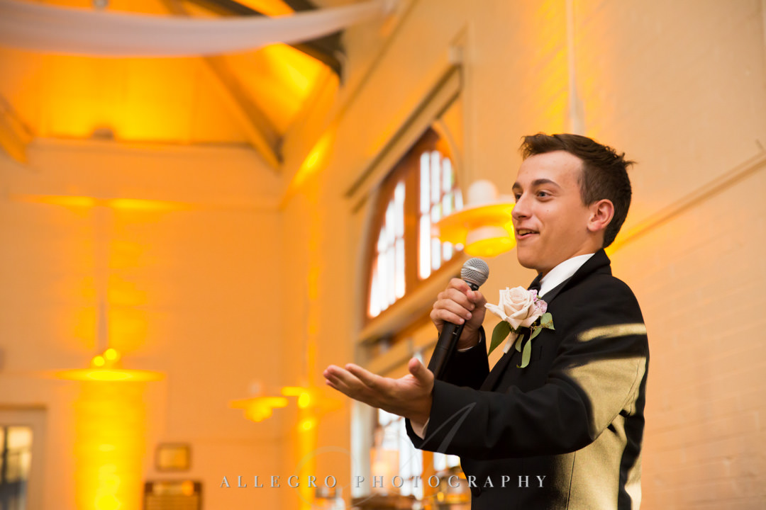 Teenage son gives a toast to his newlywed dad | Allegro Photography