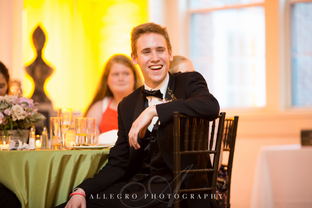 Son of bride laughs at seeing his new step-dad on dance floor | Allegro Photography