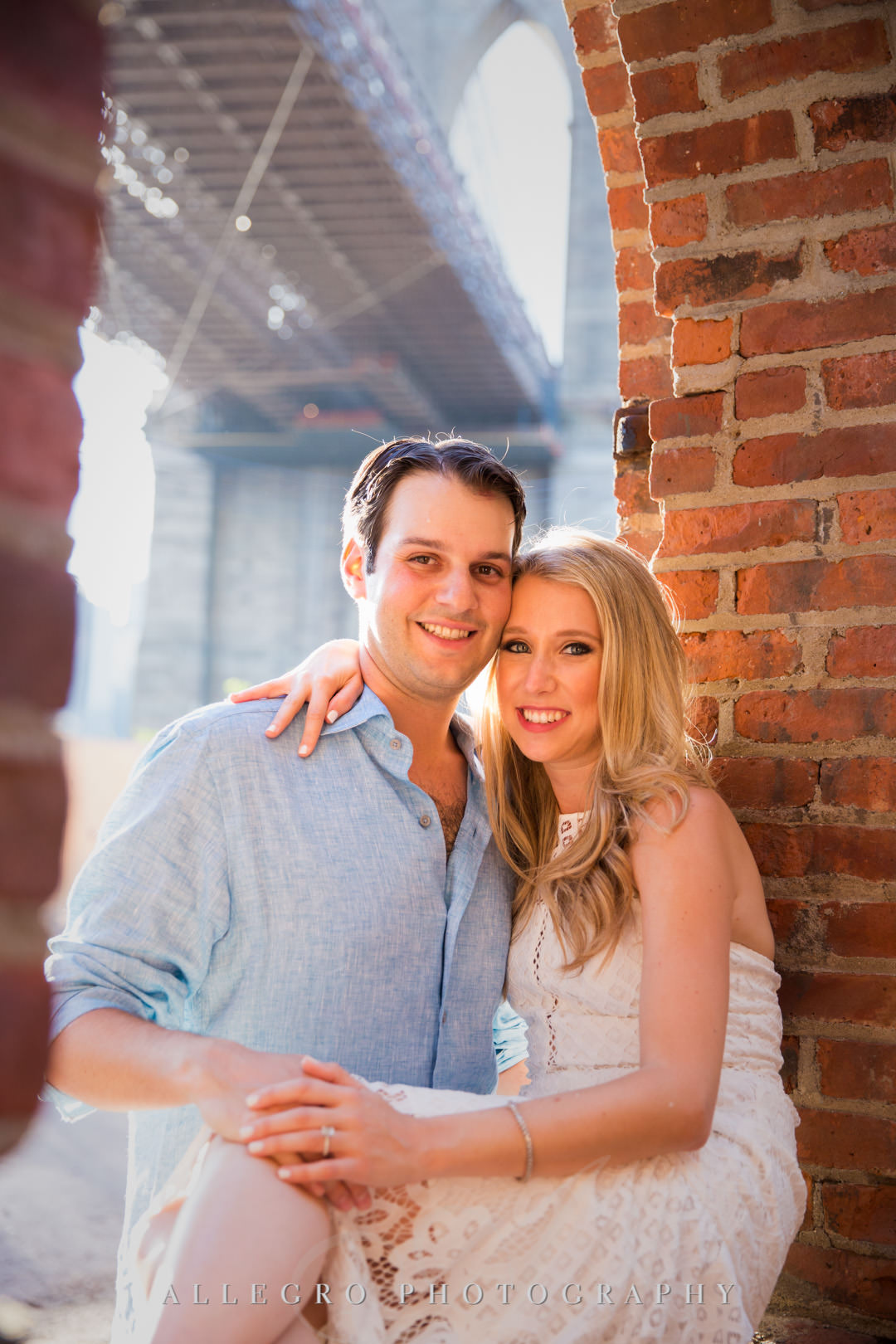 Newly engaged couple smiling in Brooklyn | Allegro Photography