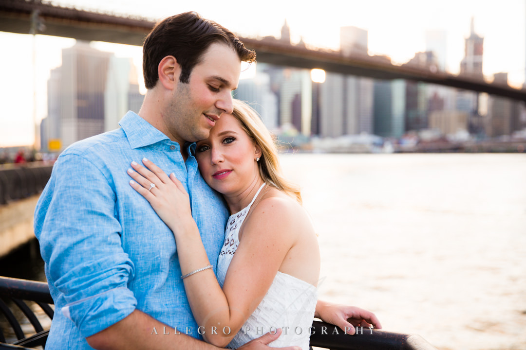Bride to be with husband at Brooklyn Bridge | Allegro Photography