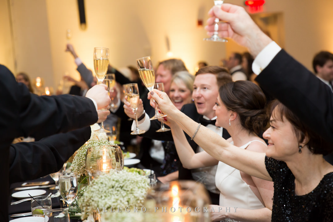 Wedding party toast each other