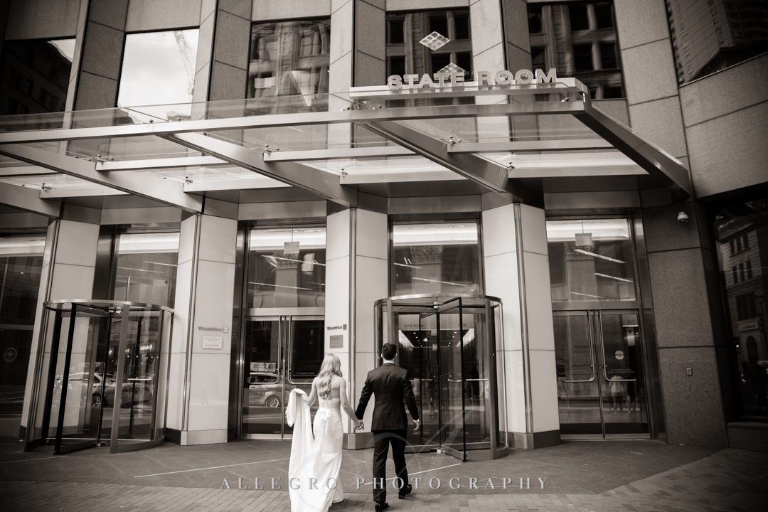 Bride and groom enter State Room in Boston