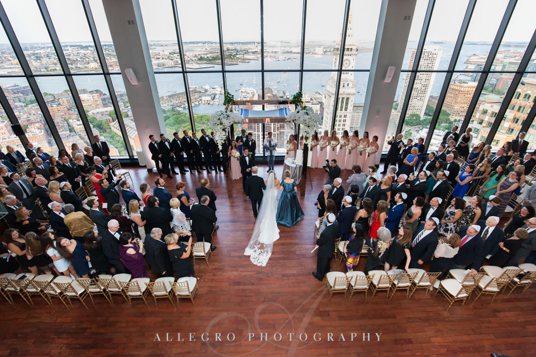 Arial view of wedding in State Room Boston