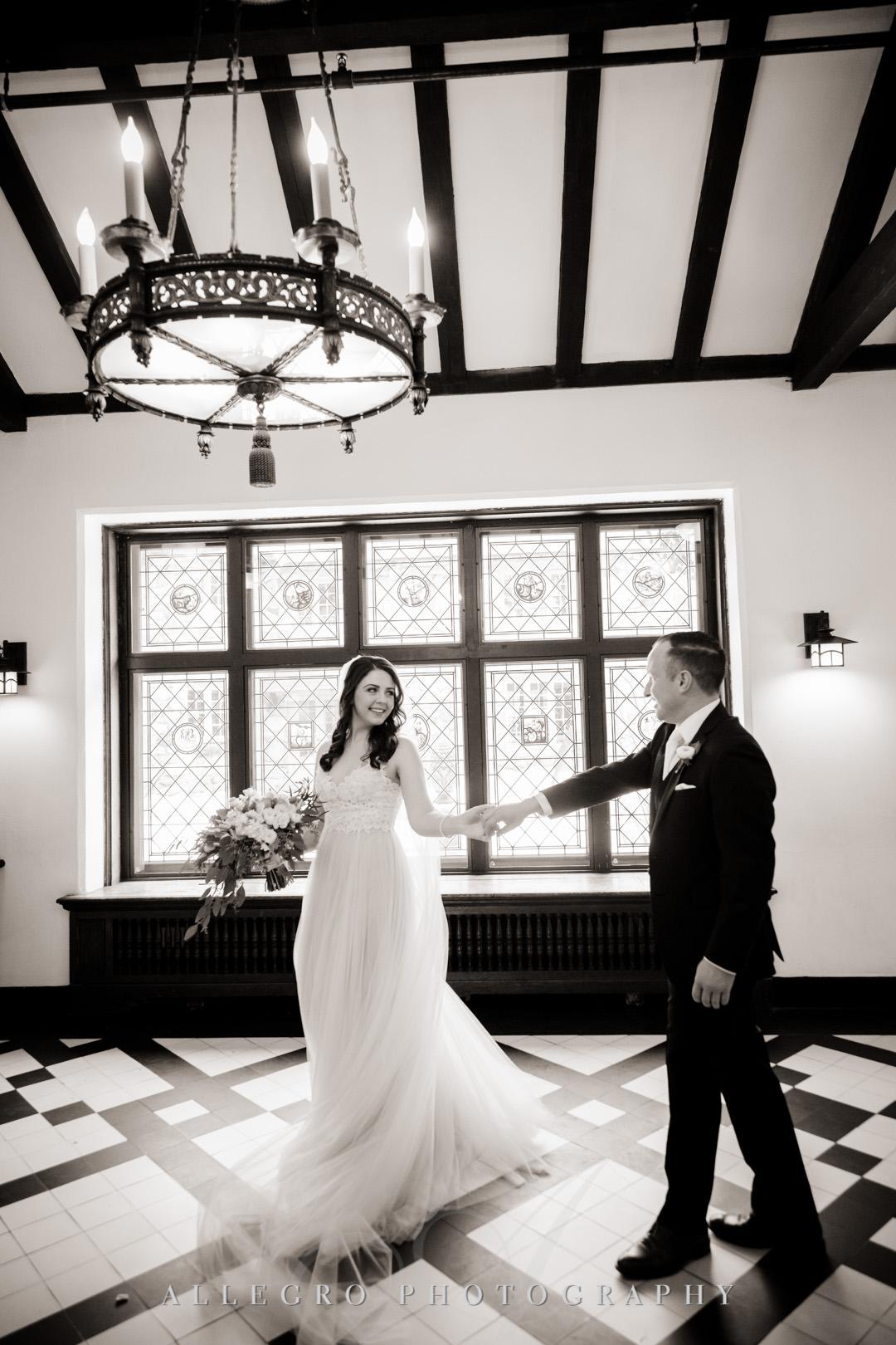 Bride leads groom on dance floor