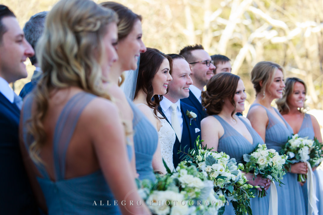 Profile shot of bridal party smiling
