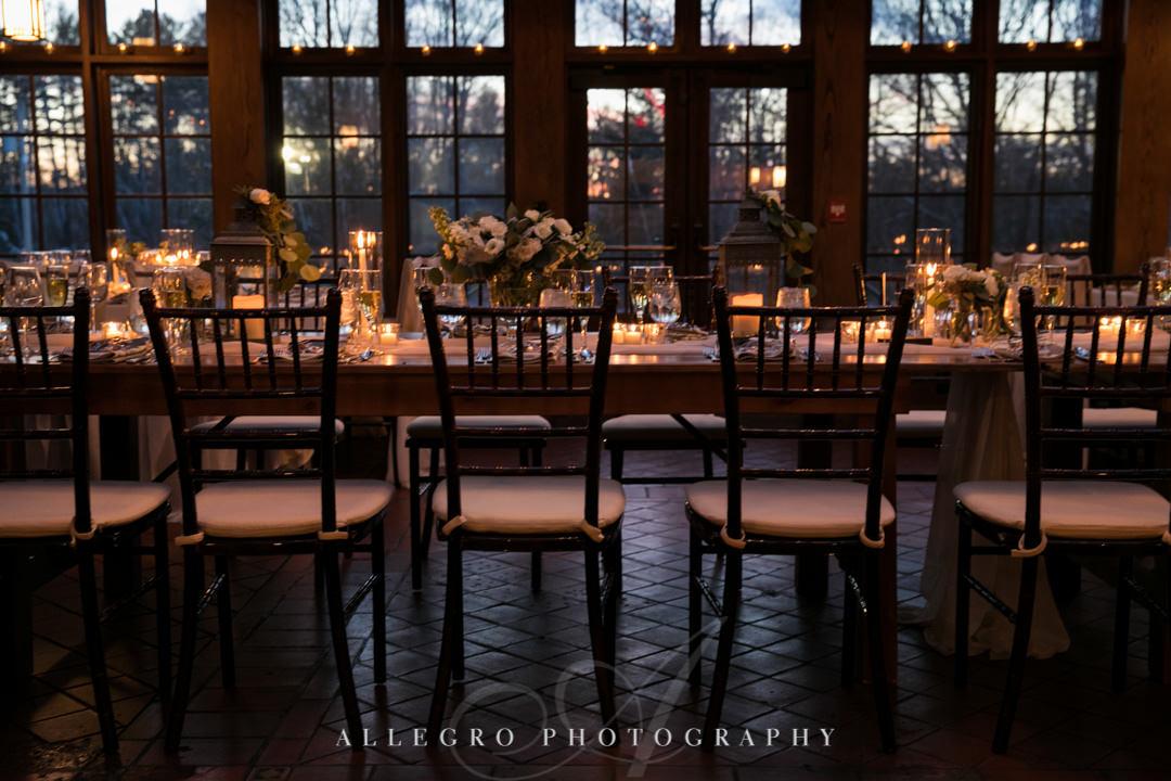 Elegant wedding decor with dim lighting