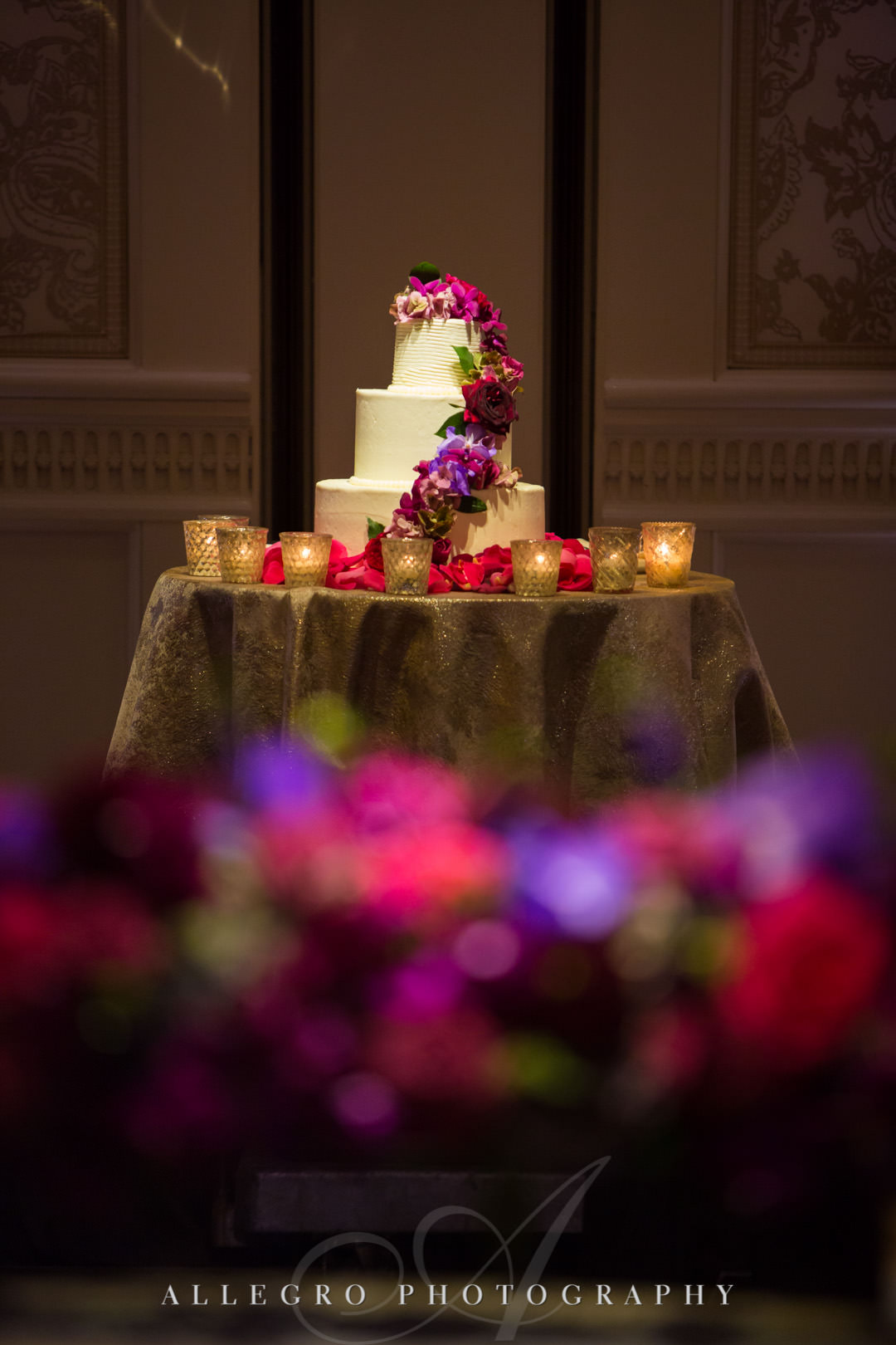 Wedding cake with flowers | Allegro Photography