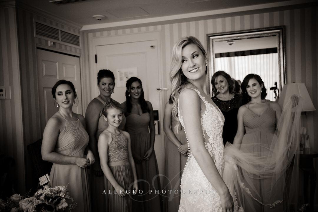 bridesmaids admire bride at langham hotel