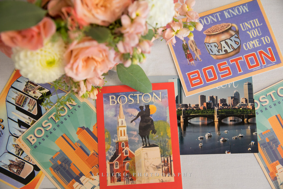 flowers and boston postcards