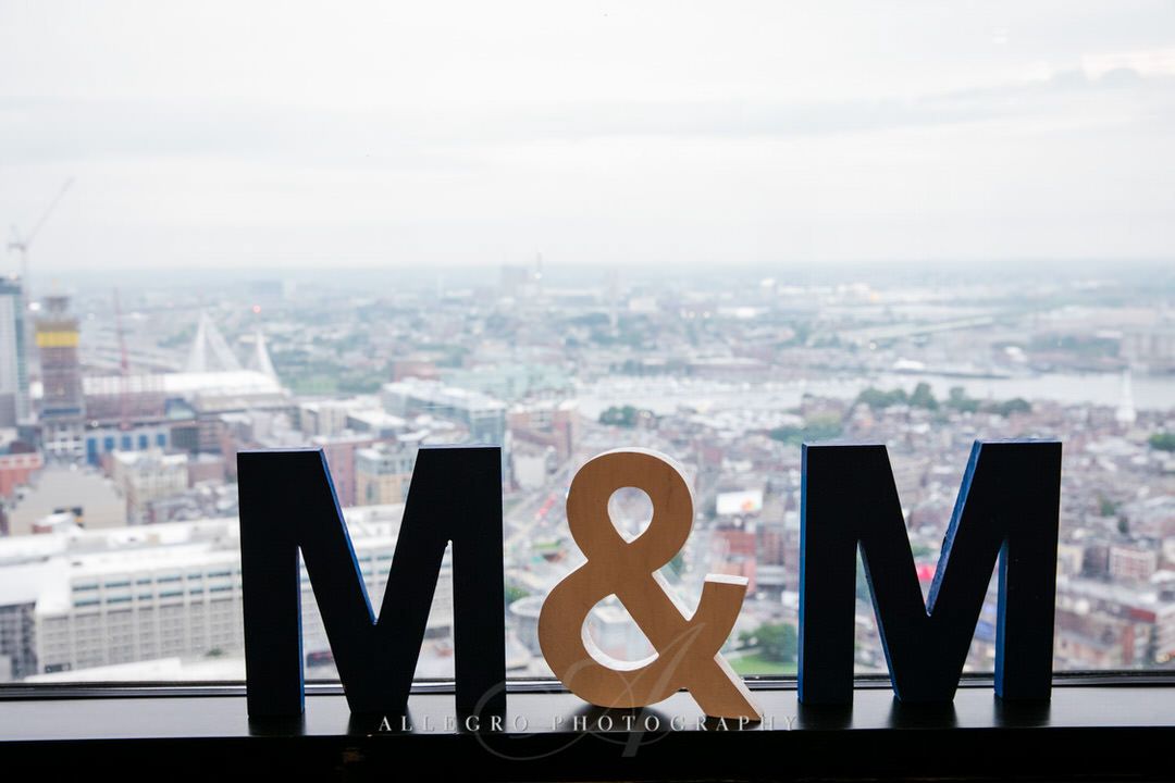 M+M initials for bride and groom