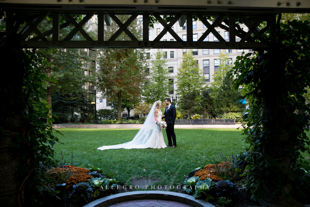 bride and groom in post office square