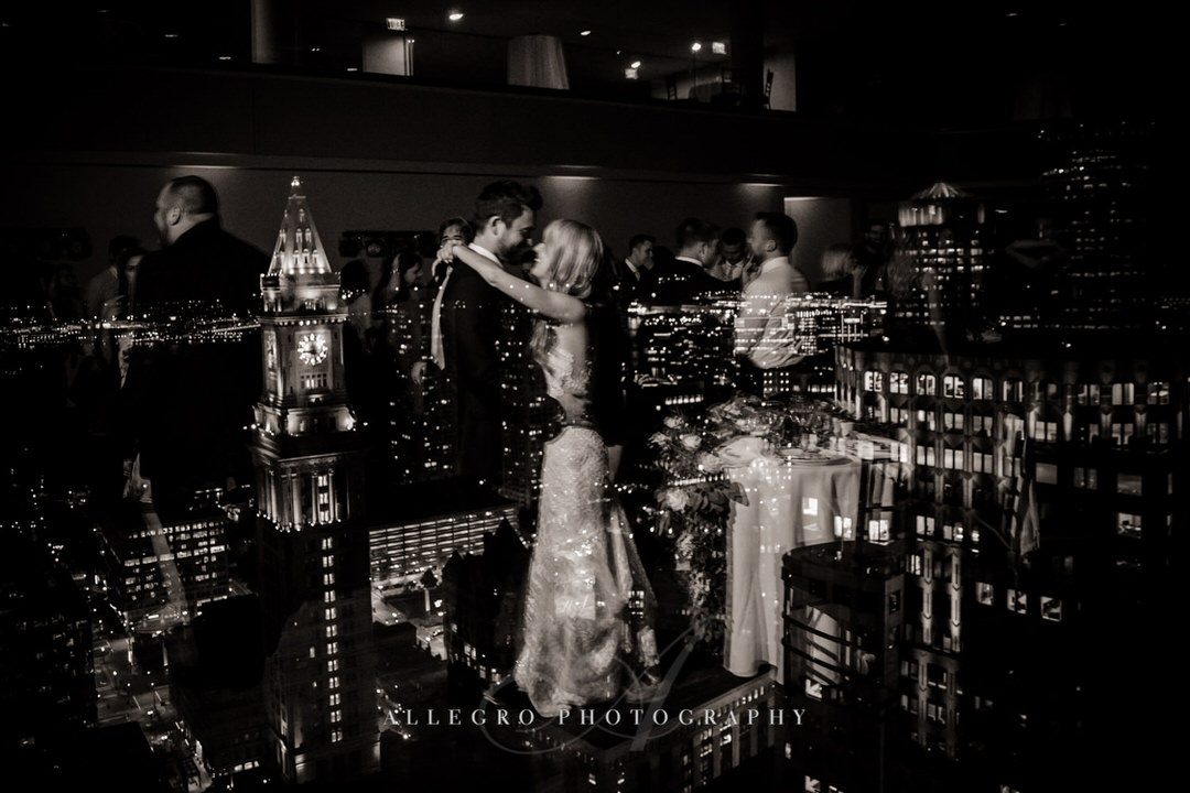 bride and groom dancing reflection