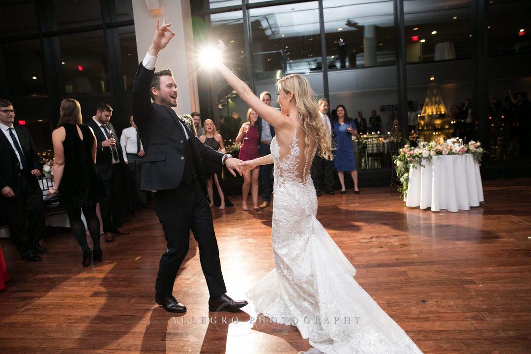 bride and groom fun dancing