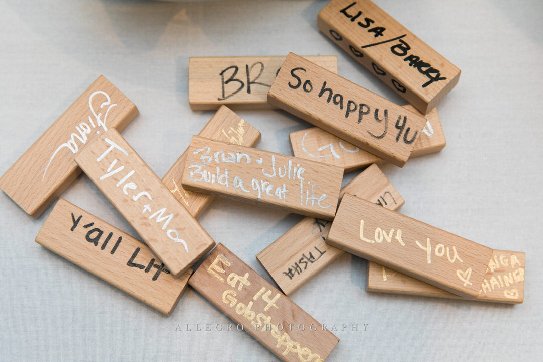 jenga pieces with cute sayings for bride and groom